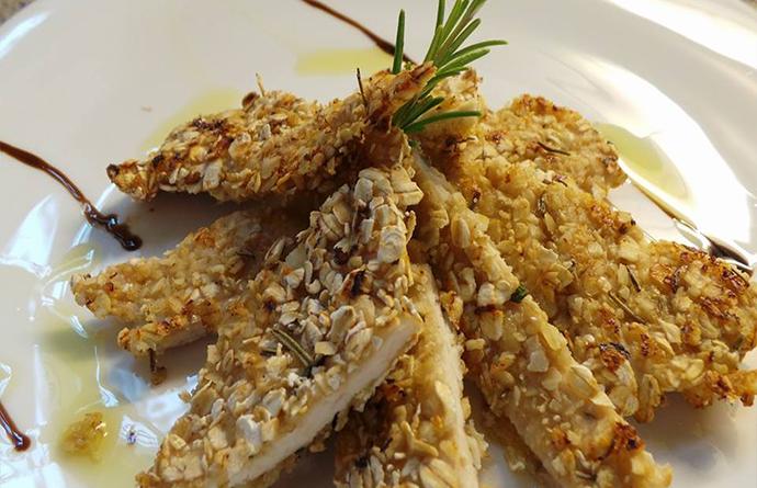 Pollo in crosta ai fiocchi d'avena